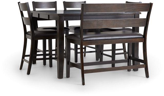 Navarro Dark Tone High Table, 4 Barstools & High Bench (1)