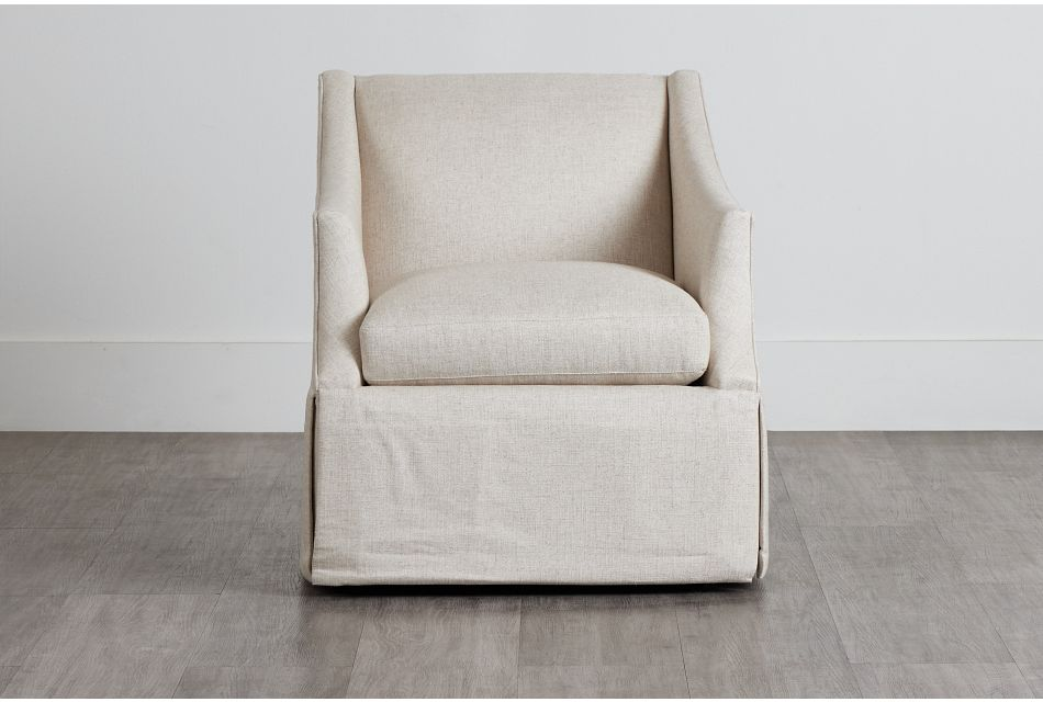 Clayton White Fabric Swivel Accent Chair,  (0)
