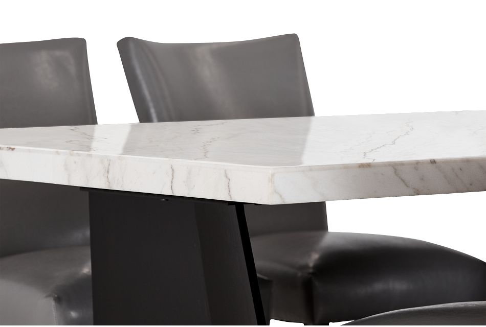 Auburn White High Table & 4 Gray Upholstered Barstools, %%bed_Size%% (3)