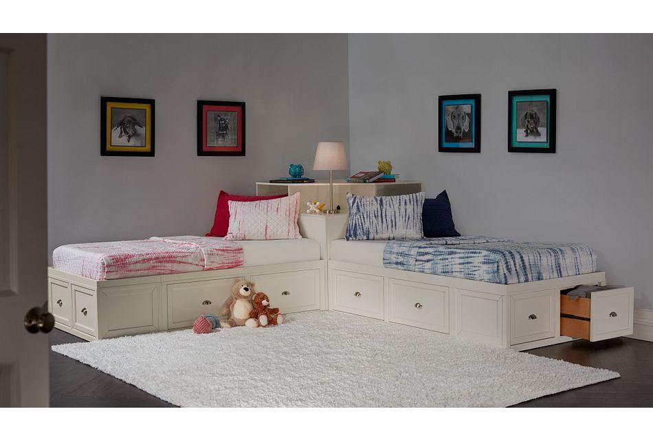 Spencer WHITE STORAGE Corner Platform Storage Beds, Twin (2)