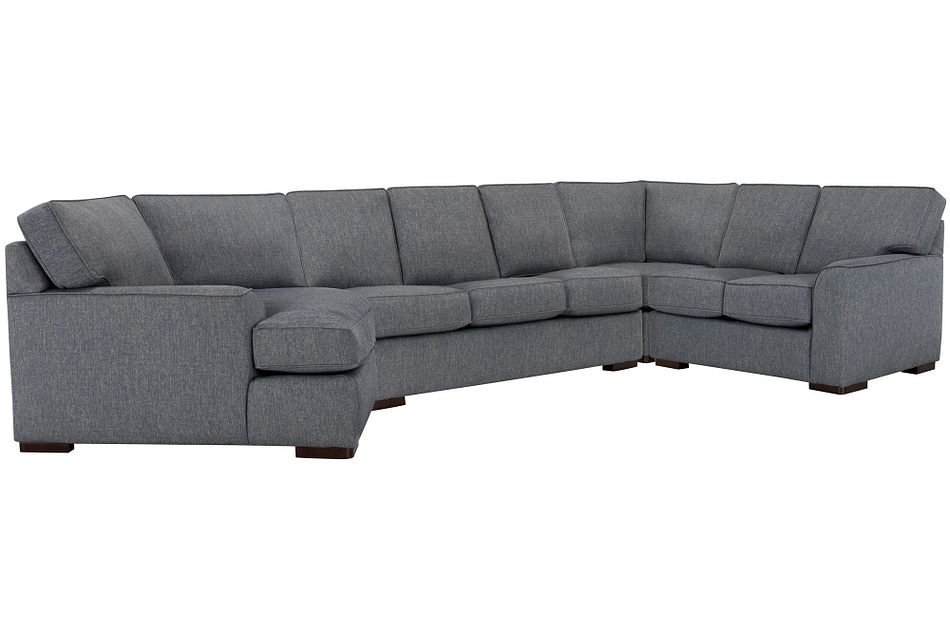 Austin Blue Fabric Left Cuddler Memory Foam Sleeper Sectional