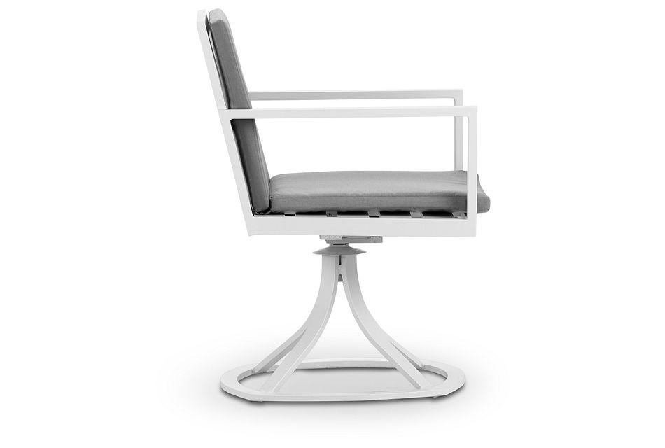 Linear White Dk Gray Swivel Chair