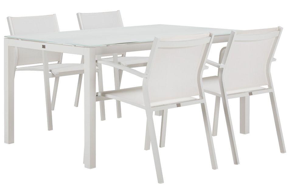 "Lisbon White 60"" Rectangular Table & 4 Chairs"
