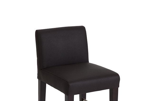 "Cane Dark Brown Micro 24"" Upholstered Barstool"
