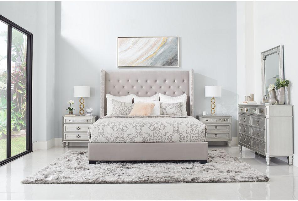 Sloane Light Gray Uph Shelter Bed, King (1)