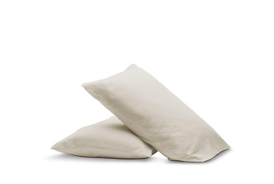 Linen Blend Ivory  Set Of 2 Pillowcases