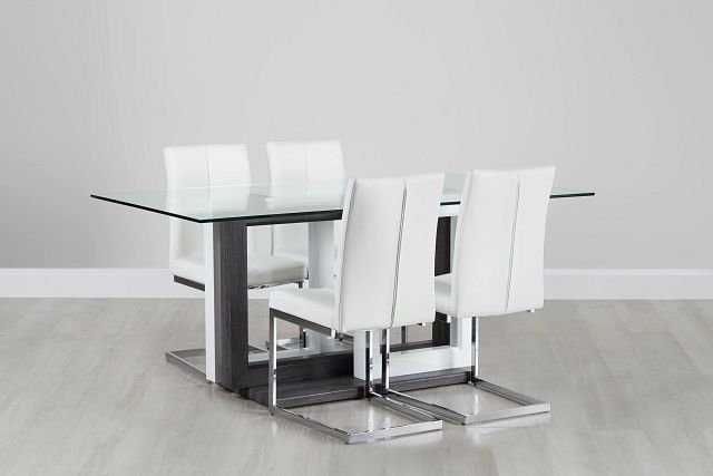 London Glass White Table & 4 Upholstered Chairs (0)