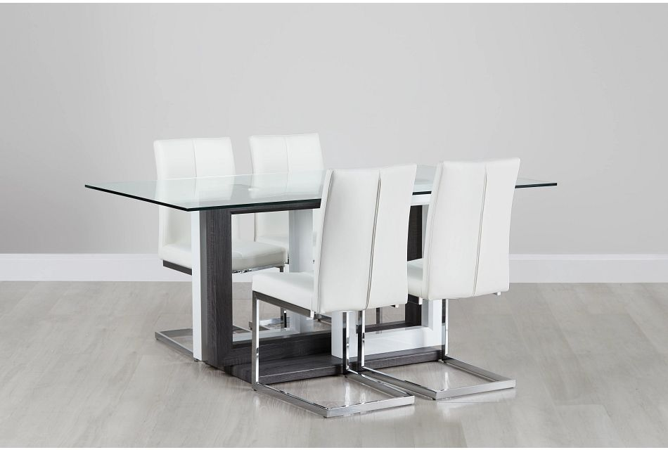 London Glass White Table & 4 Upholstered Chairs