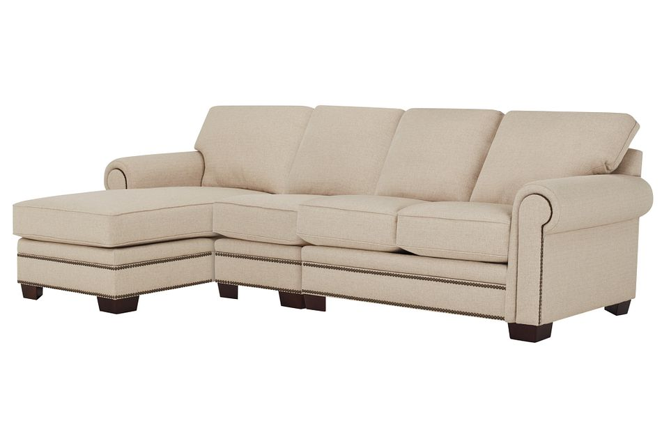Foster Khaki Fabric Left Chaise Sectional