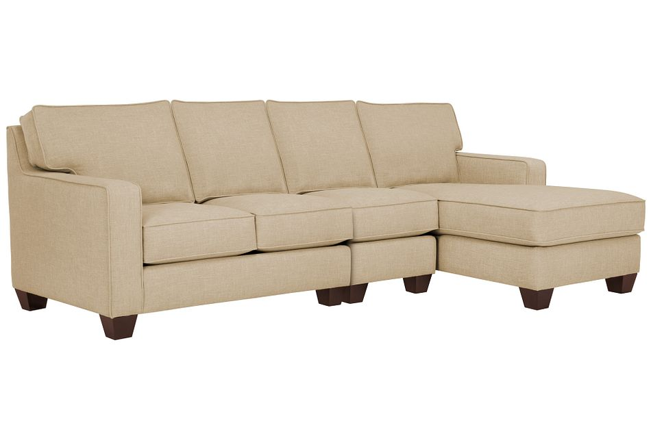 York Beige Fabric Small Right Chaise Sectional