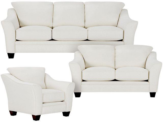 Avery White Fabric Living Room (0)
