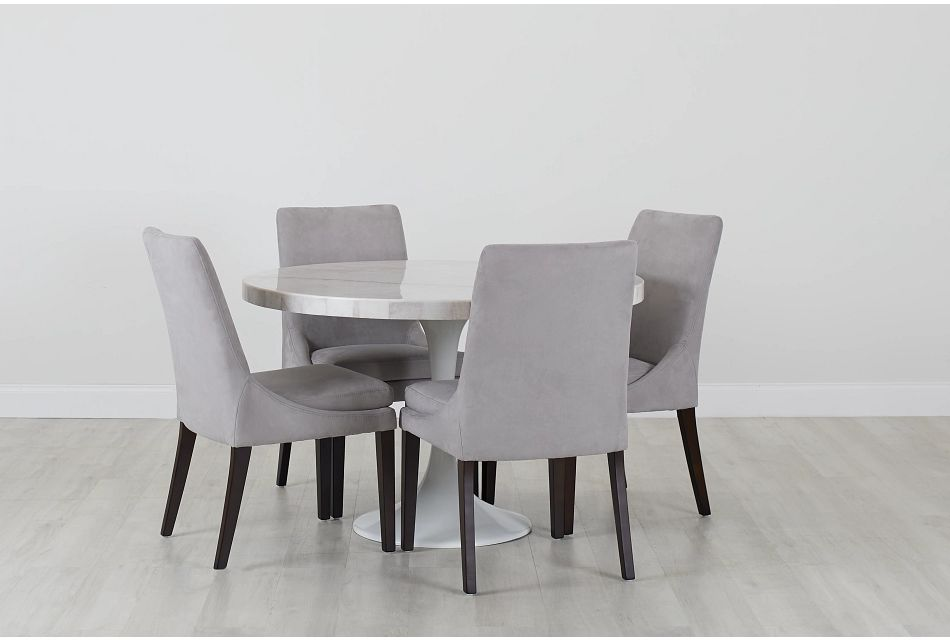"""Violet Light Gray 48"""" Round Table & 4 Upholstered Chairs, %%bed_Size%% (0)"""