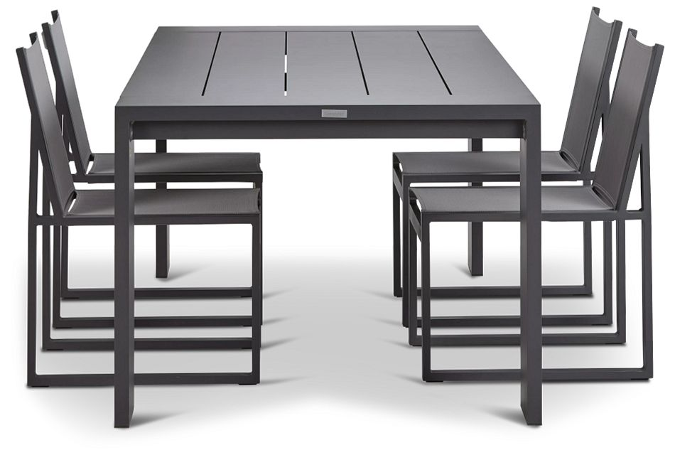"""Linear 87"""" Dk Gray Aluminum Table & 4 Sling Side Chairs"""