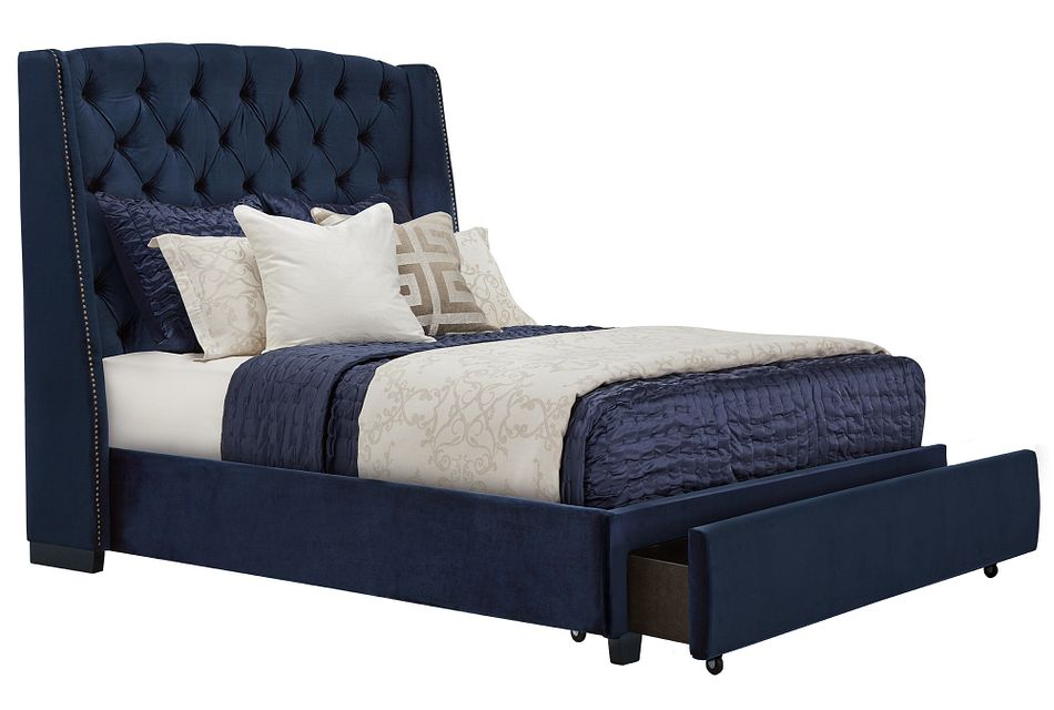 Raven Dark Blue Uph Platform Storage Bed