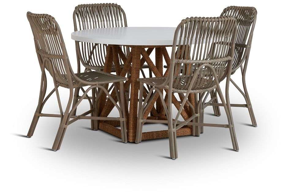 Greenwich Two-Tone Round Table & 4 Gray Rattan Chairs,  (1)
