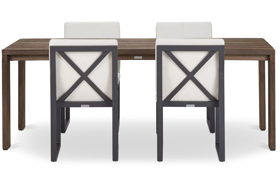 "Linear Dark Gray White 86"" Teak Table & 4 Cushioned Side Chairs"