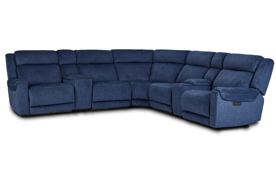 Beckett Dark Blue Micro Large Triple Power Reclining Two-Arm Sectional,  (1)