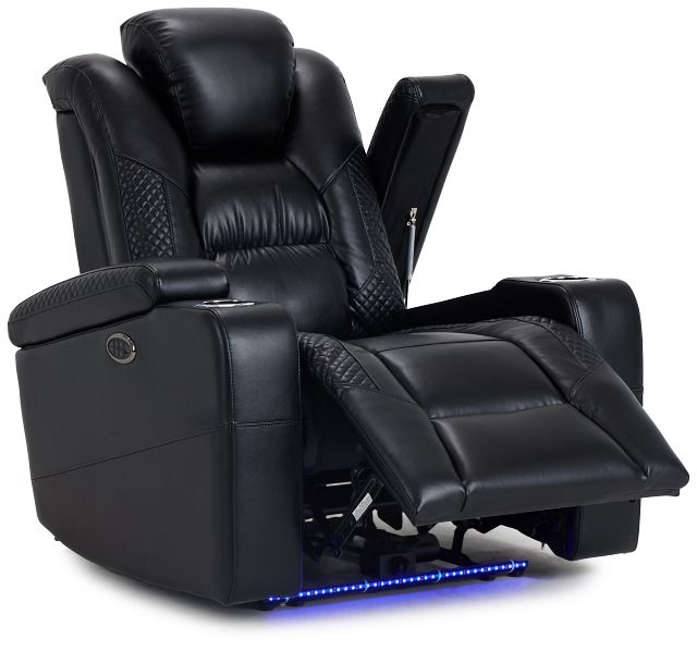 Troy Black Micro Power Recliner With Power Lumbar (3)