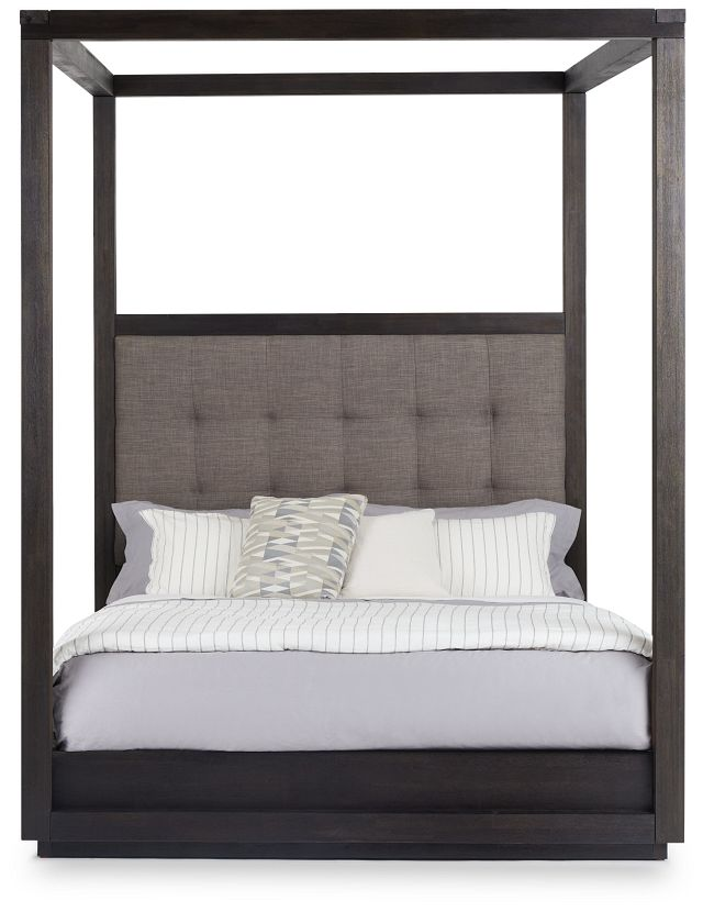 Madden Gray Fabric Canopy Bed (3)
