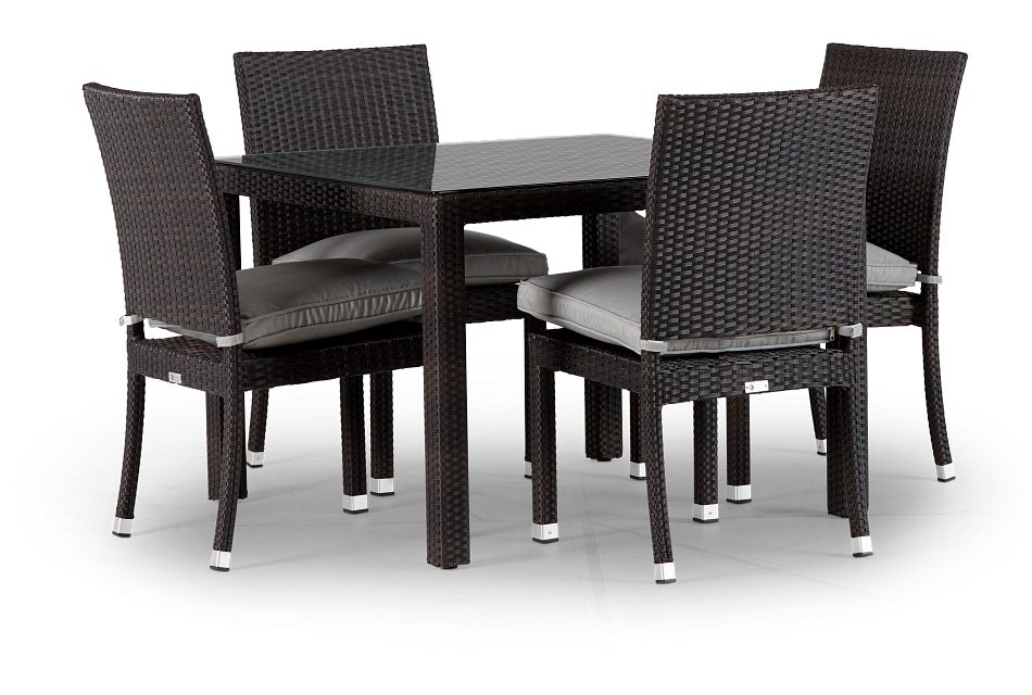 """Zen Gray 40"""" Square Table & 4 Chairs"""