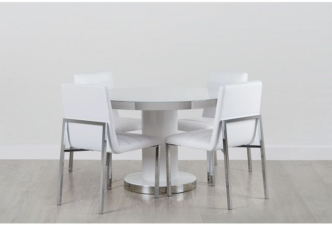 """Miami9 White 47"""" Round Table & 4 Upholstered Chairs"""