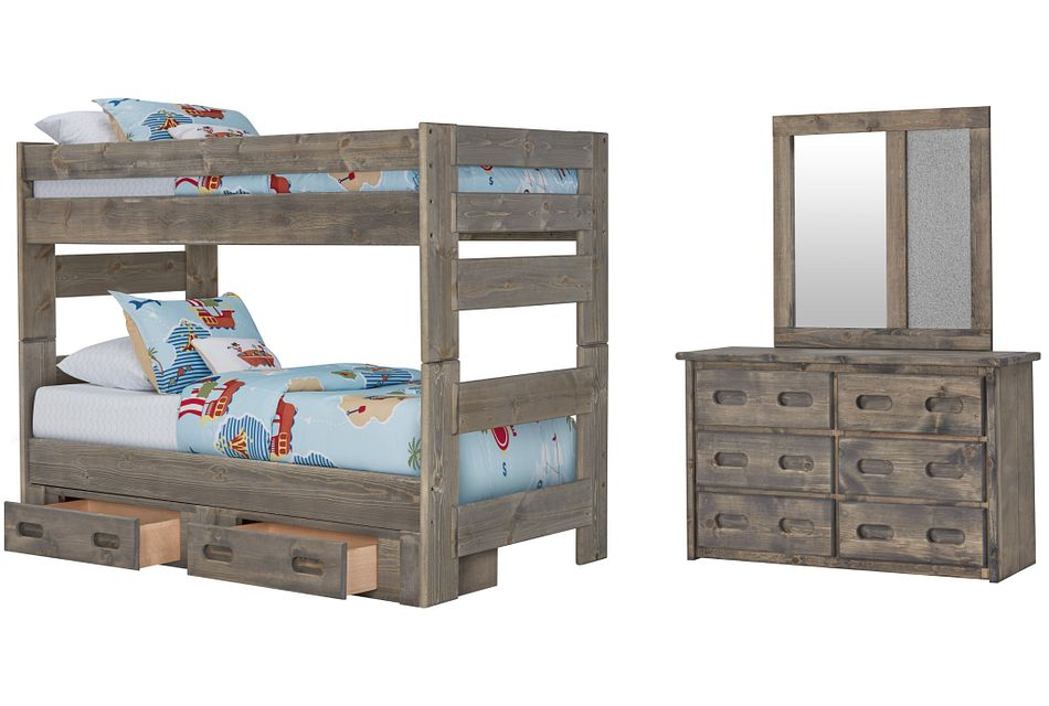 Cinnamon Gray Bunk Bed Storage Bedroom