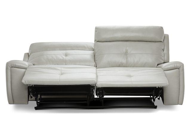 Chandler Light Gray Micro Power Reclining Sofa (2)