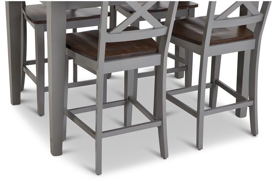 Sumter Gray High Table & 4 Barstools