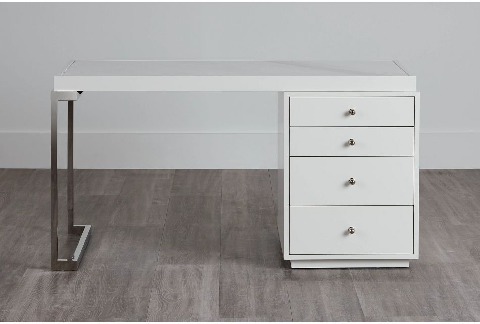 Whitley White Marble Writing Desk,  (0)