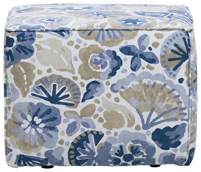 Waterflower Blue Accent Pouf (1)