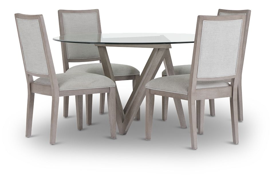 Tribeca Light Tone Glass Table & 4 Wood Chairs,  (1)