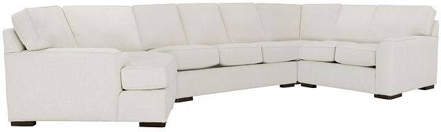 Austin White Fabric Left Cuddler Memory Foam Sleeper Sectional (0)