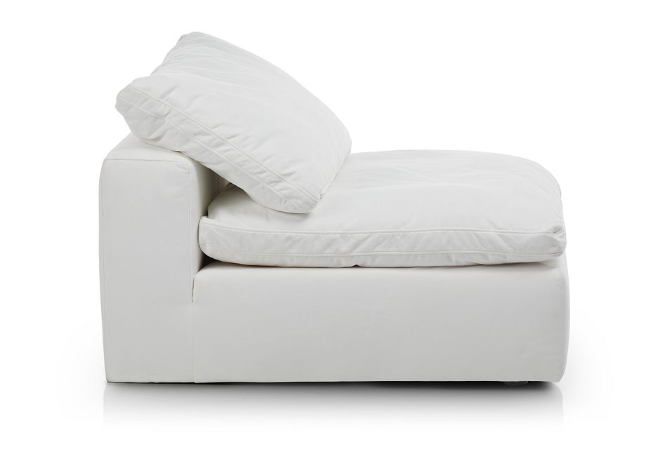 Nixon White Fabric Armless Chair
