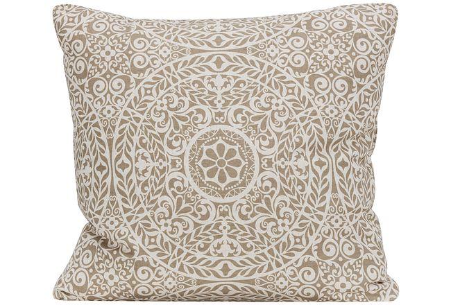 Tachenda Beige Fabric Square Accent Pillow