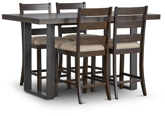 Sawyer Dark Tone High Table & 4 Wood Barstools