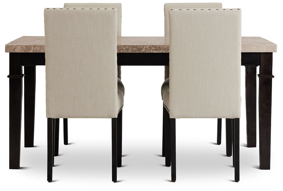 Portia Dark Tone Marble Table & 4 Upholstered Chairs,  (3)