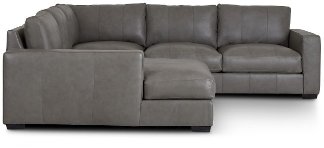 Dawkins Gray Leather Medium Left Chaise Sectional (1)