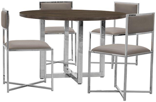 Amalfi Taupe Wood Round Table & 4 Metal Chairs