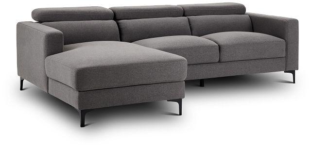 Trenton Dark Gray Fabric Left Chaise Sectional (1)