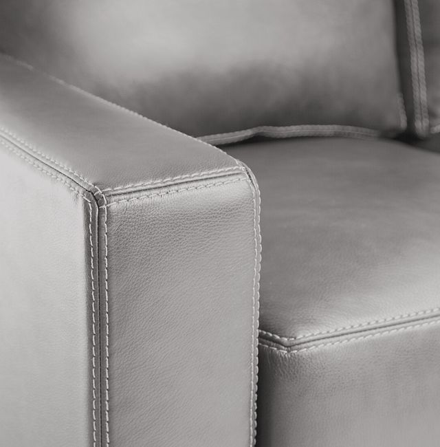 Carson Gray Leather Right Chaise Sectional