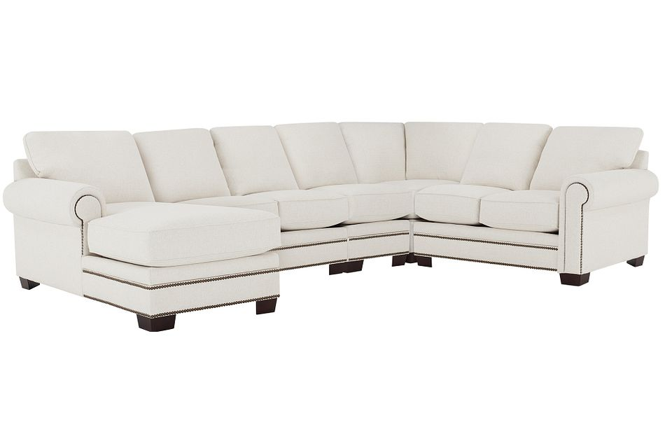 Foster White Fabric Large Left Chaise Sectional