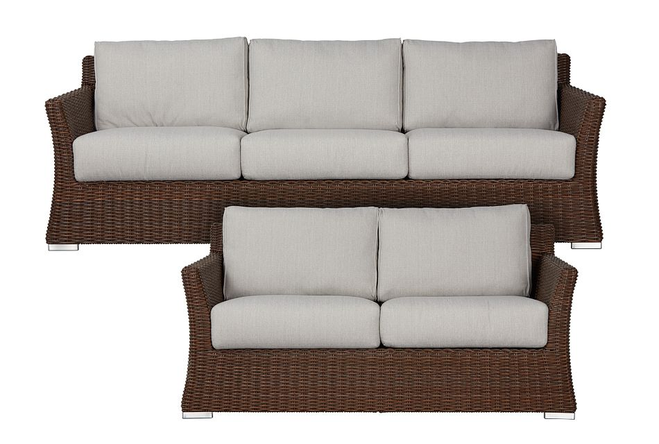 Southport Gray Woven Outdoor Living Room Set