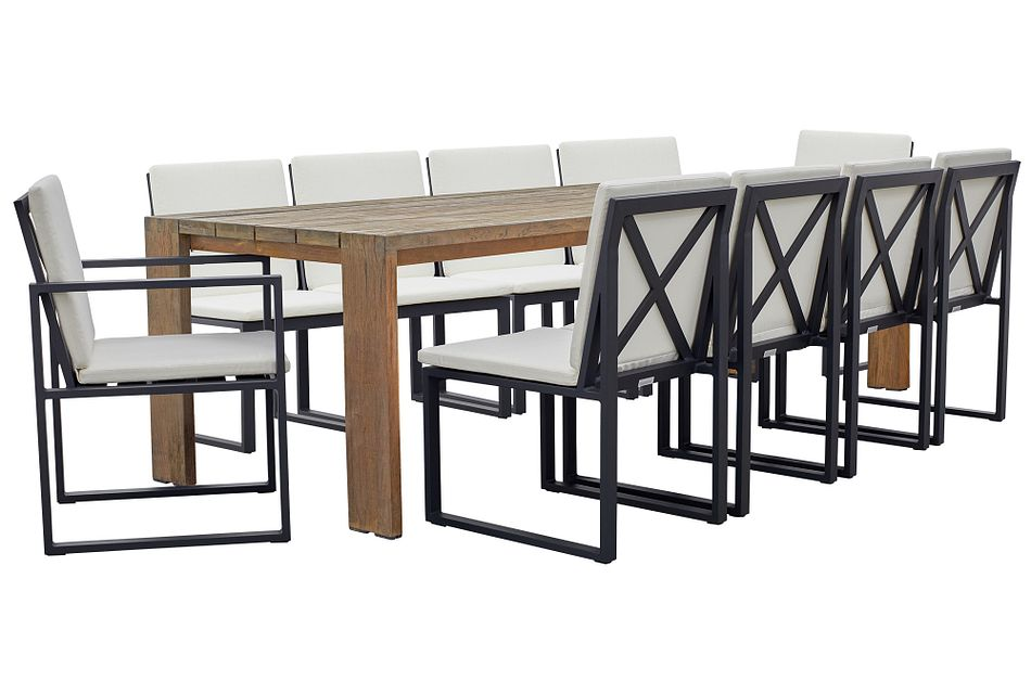 """Linear Dark Gray White 102"""" Aluminum Table & 4 Cushioned Side Chairs"""