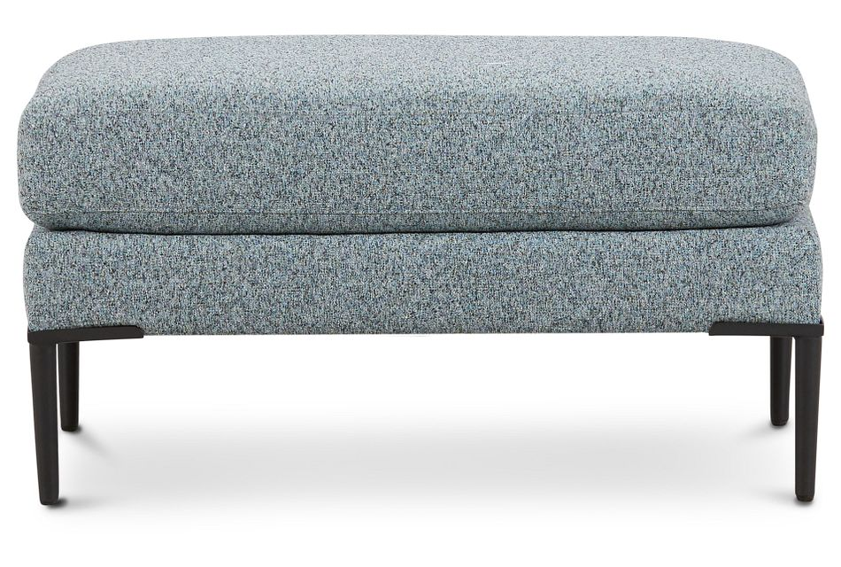 Morgan Teal Fabric Ottoman With Metal Legs