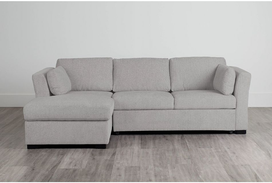 Amber Light Gray Fabric Small Left Chaise Sleeper Sectional,  (0)