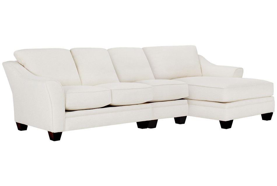 Avery White Fabric Small Right Chaise Sectional