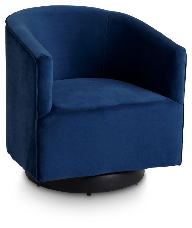Charlotte Dark Blue Velvet Swivel Accent Chair (1)