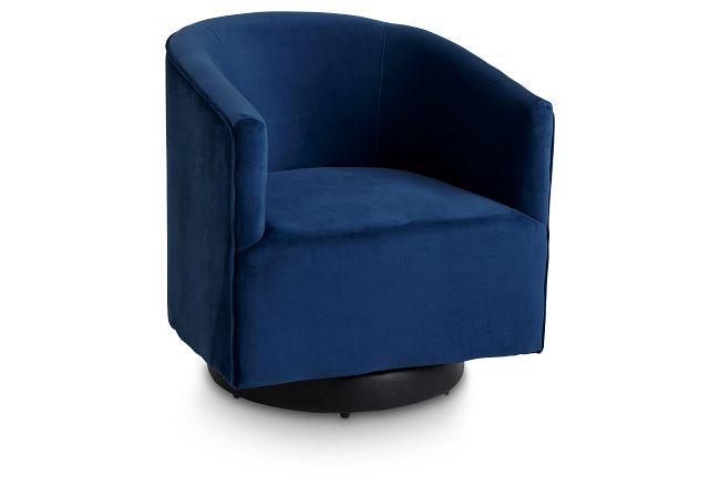 Charlotte Dark Blue Velvet Swivel Accent Chair