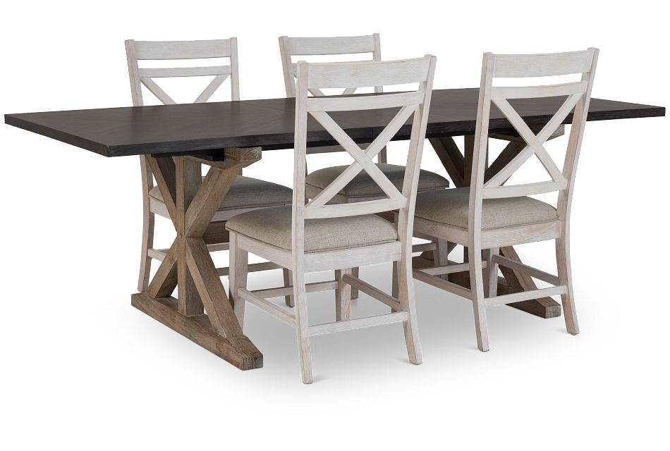 Jefferson Two-tone Rect Table & 4 Wood Chairs