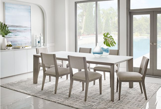 Rio Glass Rect Table & 4 Wood Chairs